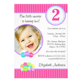 Candy Stripes Girl Photo Birthday Personalized Announcement
