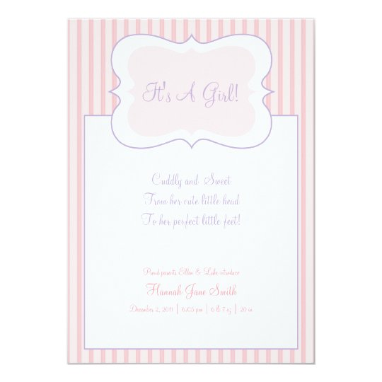 Candy Stripes - It's A Girl! Announcement Pink
