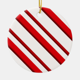Candy Stripes, peppermint red & white Ceramic Ornament