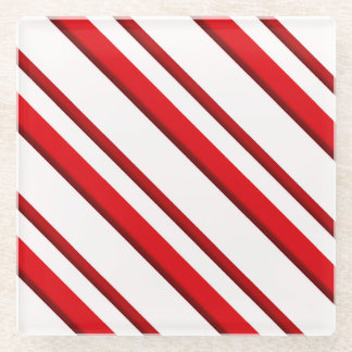 Candy Stripes, peppermint red & white Glass Coaster