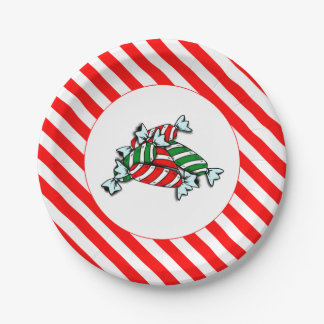 """Candy Stripes & Peppermints 7"""" Holiday Paper Plate"""