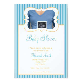 Candy Stripes - Photo Baby Shower BO Card