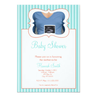 Candy Stripes - Photo Baby Shower TR Invitation
