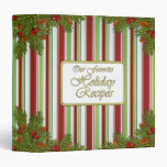 Candy Stripes Pine Boughs Christmas Recipe Binder