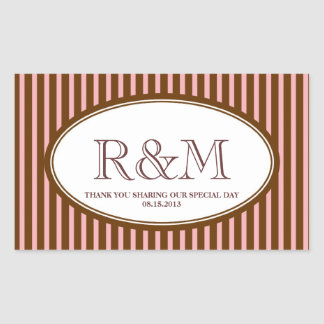 Candy stripes pink classic monogram favor seal rectangular stickers
