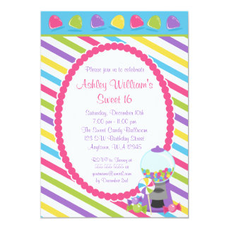 Candy Stripes Sweet 16 Birthday Custom Announcement