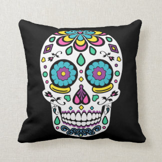 Candy Sugar Skull Print Pillow