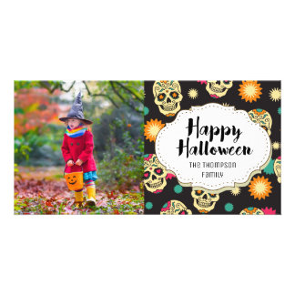 Candy Sugar Skulls Halloween Picture Photo Card