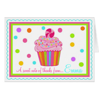 Candy  Surpise Cupcake Thank You Note Cards