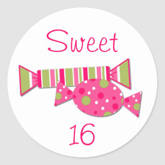 Candy Sweet 16 Birthday Party Envelope Seal Round Stickers