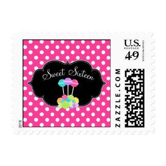 Candy Sweet 16 Pink Polka Dot Postage