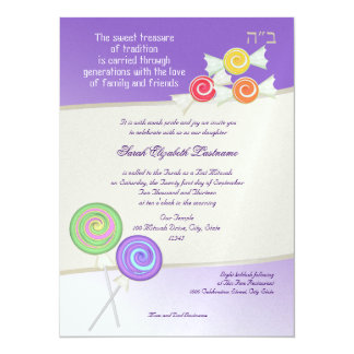 Candy Sweet Bat Mitzvah Grape Card