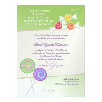 Candy Sweet Bat Mitzvah Lime Card