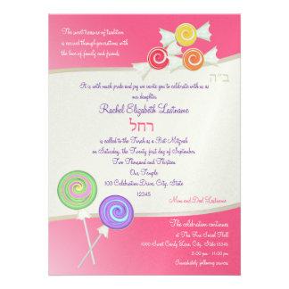 Candy Sweet Bat Mitzvah Watermelon Dark Pink Personalized Invitation