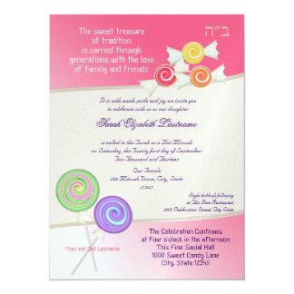 Candy Sweet Bat Mitzvah Watermelon Pink 2 5.5x7.5 Paper Invitation Card