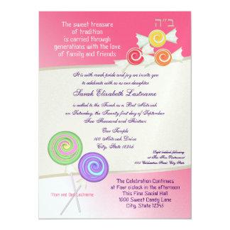 Candy Sweet Bat Mitzvah Watermelon Pink 3 5.5x7.5 Paper Invitation Card