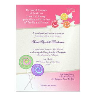 Candy Sweet Bat Mitzvah Watermelon Pink 5.5x7.5 Paper Invitation Card