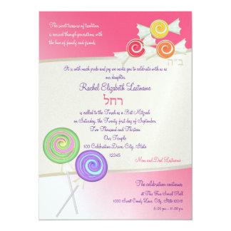 Candy Sweet Bat Mitzvah Watermelon Pink D 5.5x7.5 Paper Invitation Card