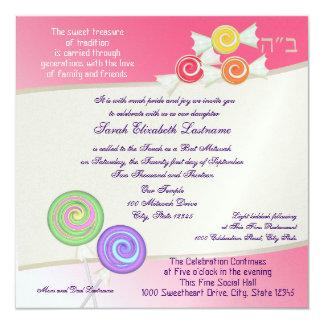 Candy Sweet Bat Mitzvah Watermelon Pink Invitation