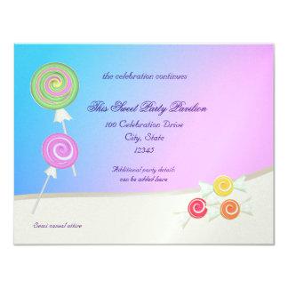 Candy Sweet Blue Raspberry Bat Mitzvah 4.25x5.5 Paper Invitation Card