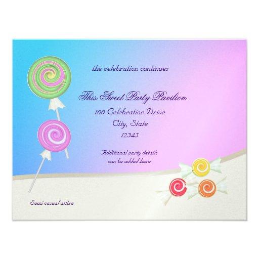 Candy Sweet Blue Raspberry Bat Mitzvah Custom Invitation