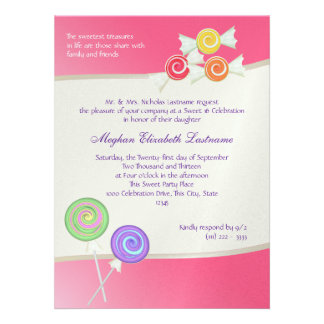Candy Sweet Sixteen Birthday Watermelon Dark Pink Personalized Invitations