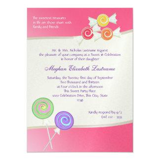 Candy Sweet Sixteen Birthday Watermelon Dark Pink Personalized Invitations
