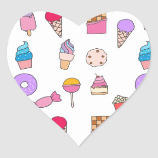 Candy, sweets and cake heart sticker
