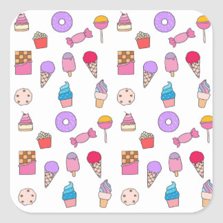 Candy, sweets and cake square sticker