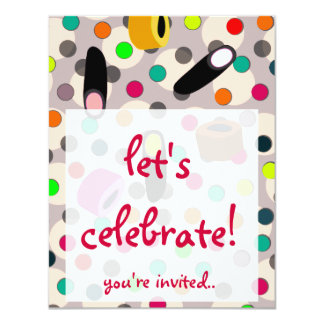 candy sweets birthday party invites