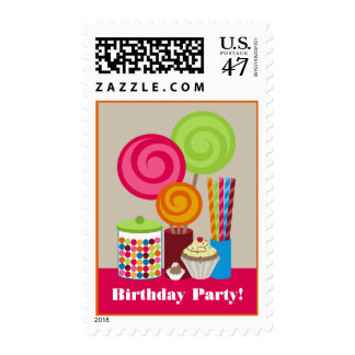 Candy & Sweets Birthday Party Postage