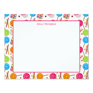 Candy & Sweets Pattern Flat Notecards 4.25x5.5 Paper Invitation Card