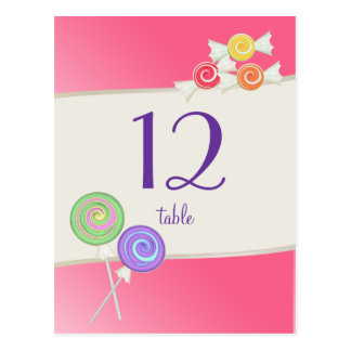 Candy Table Number Watermelon Pink Post Card