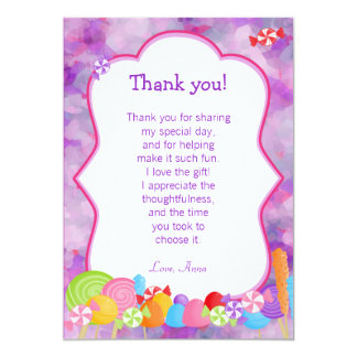 Candy Thank You Card Note Girl Pink Purple