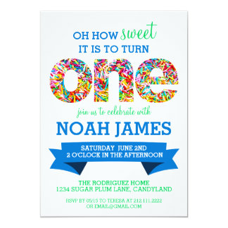 Candy Theme 1st Birthday Party Sprinkles BLUE 5x7 Paper Invitation Card