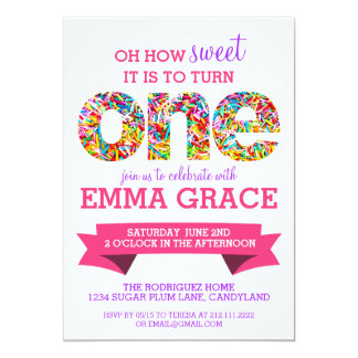 Candy Theme 1st Birthday Party Sprinkles Invite