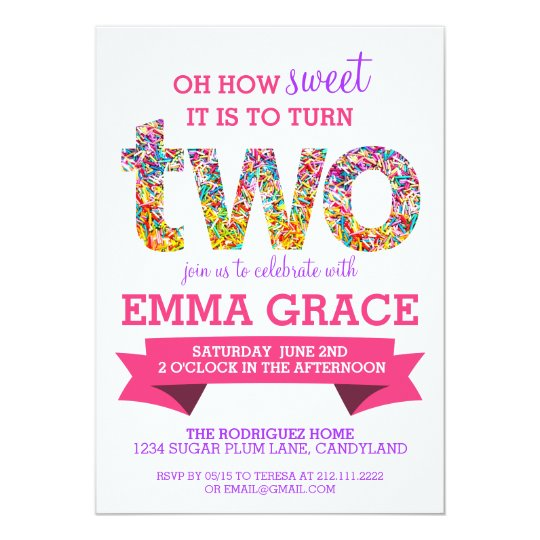Candy Theme 2nd Birthday Party Sprinkles Invite Zazzlecom