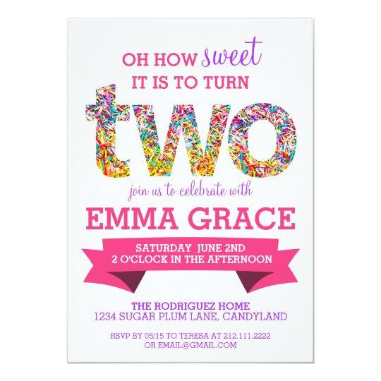 Candy Theme 2nd Birthday Party Sprinkles Invite Zazzle Com