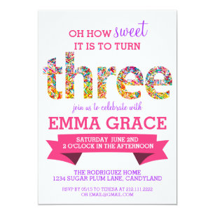3rd birthday invitations announcements zazzle candy theme 3rd birthday party sprinkles invite filmwisefo