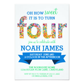 Candy Theme 4th Birthday Party Sprinkles BLUE Card