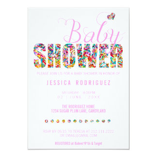 Candy Theme Baby Shower Party It's a Girl Card