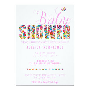 Save 60 on candy baby shower invitations limited time only zazzle candy theme baby shower party its a girl invitation filmwisefo