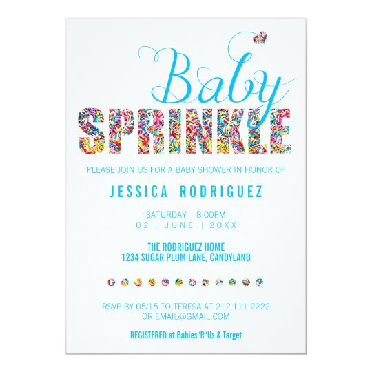 Candy Theme Baby SPRINKLE Shower Boy Invitation