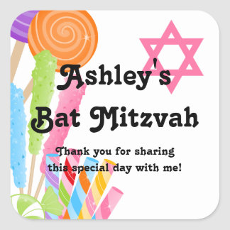 Candy Theme Bat Mitzvah Favor Square Sticker