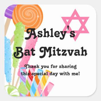 Candy Theme Bat Mitzvah Favor Square Sticker