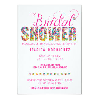 Candy Theme BRIDAL Shower Party Card
