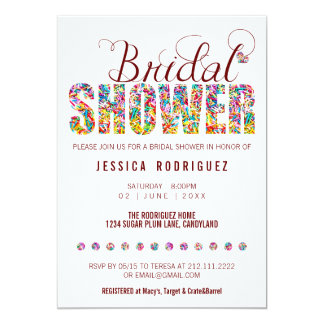 Candy Theme CUSTOM COLOR BRIDAL Shower Party Card