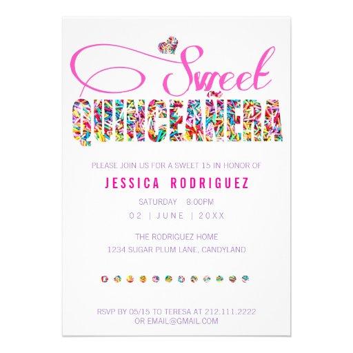 Candy Theme Quincea  241 era Birthday InvitationQuinceanera Star Theme Invitations