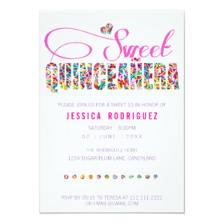 Candy Theme Quinceañera Birthday Invitation