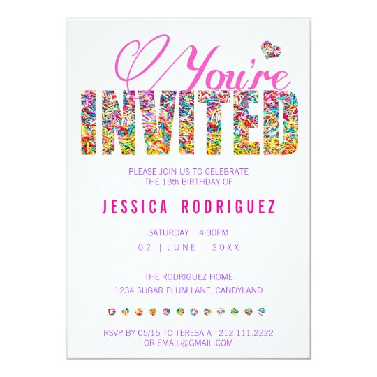 Candy Theme Sprinkles Birthday Party Invitation